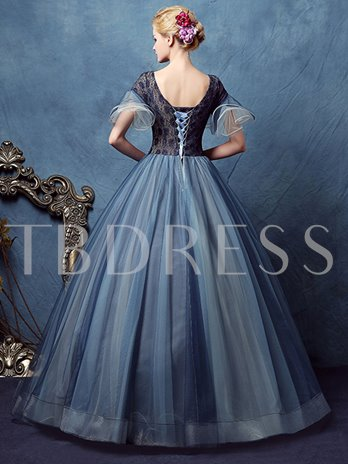 Beading Lace Short Sleeves V-Neck Quinceanera Dress