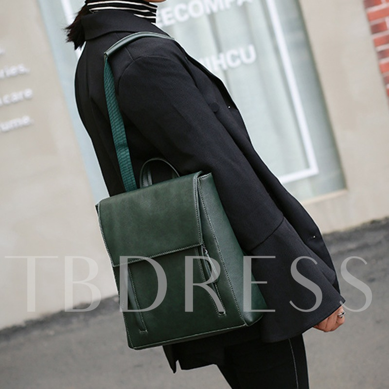 Casual Solid Color PU Women Backpack