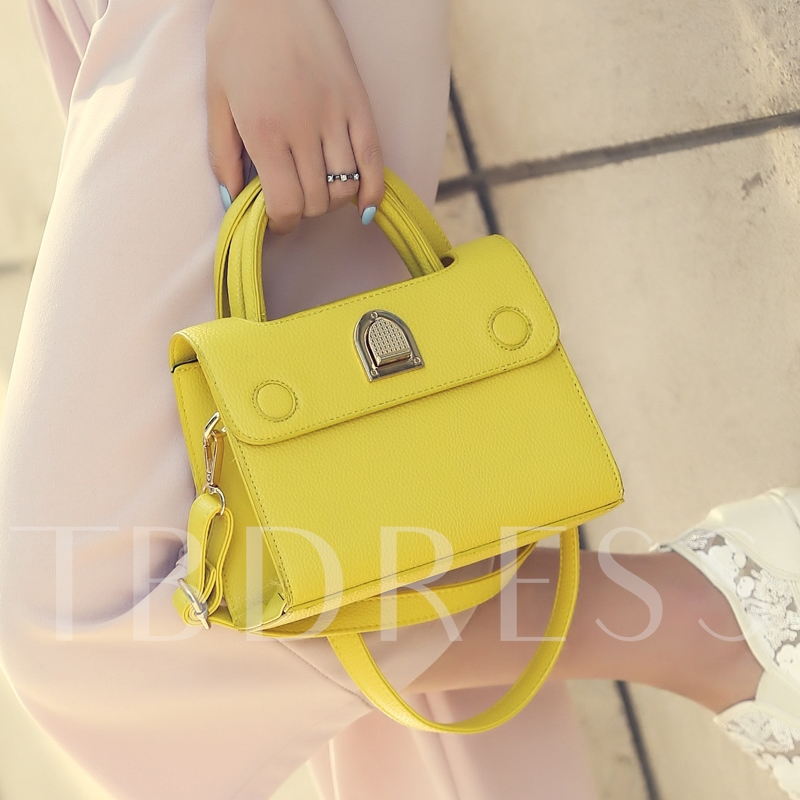 Graceful Solid Color PU Women Tote