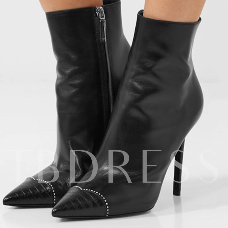 Buy Patchwork Pointed Toe Zipper Black High Heels, Sheshoe, Spring,Fall,Winter, 13086314 for $75.99 in TBDress store