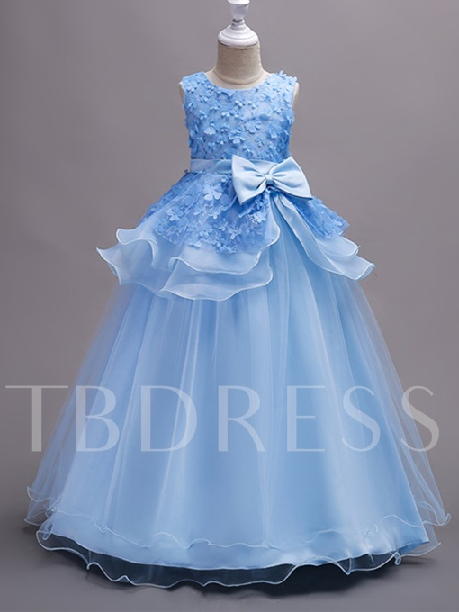 Tiered Appliques Lace Girls Party Dress