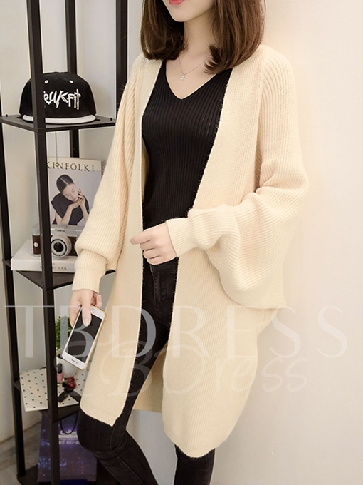 Plain Long Loose with Batwing Sleeve Sweater Women's Cardigan