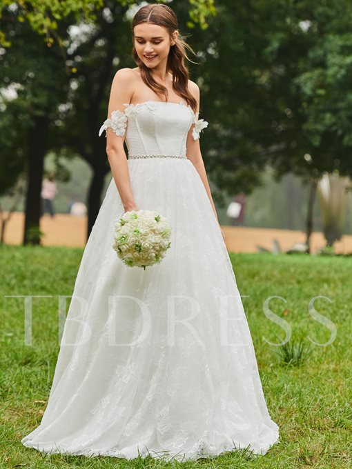 Off the Shoulder Pearls Lace Wedding Dress