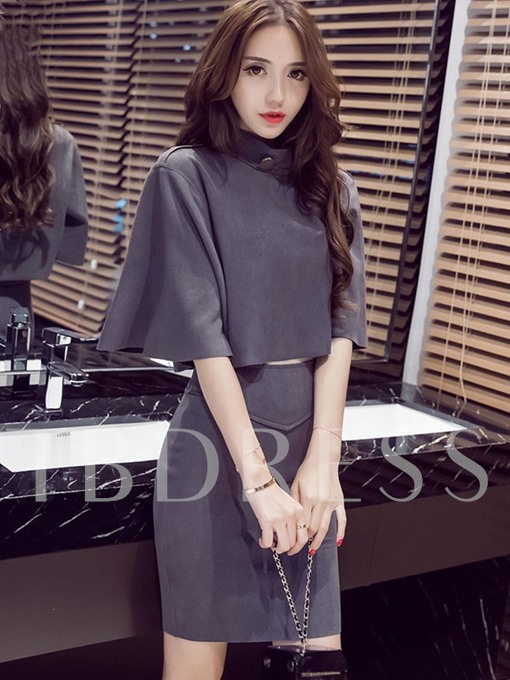 Half Sleeve Women's T-Shirt Skirt Suit
