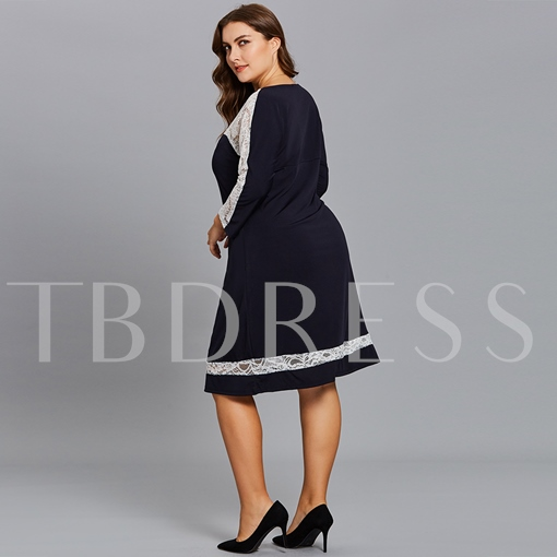 Dark Blue Lace Patchwork Plus Size Women's Day Dress