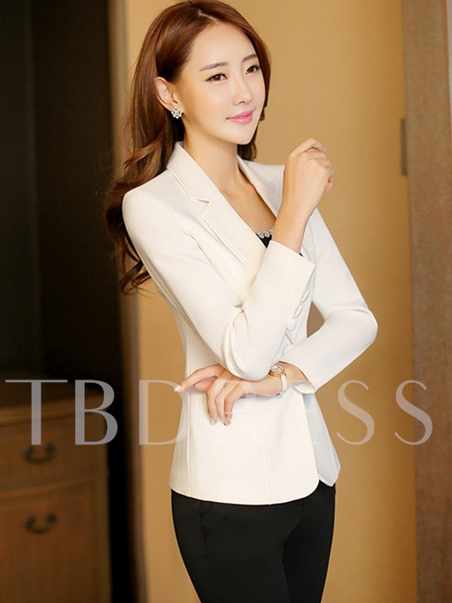 Plain One Button Slim Fit Women's Blazer