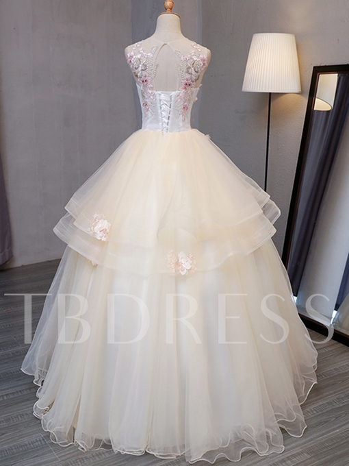 Scoop Beading Embroidery Sleeveless Quinceanera Dress