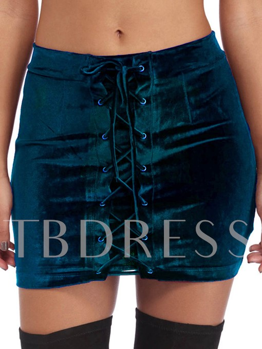 Patchwork Lace-Up Thick Women's Mini Skirt