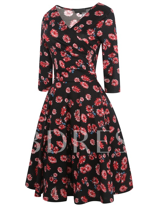 Printing 3/4 Sleeve Women's Day Dress