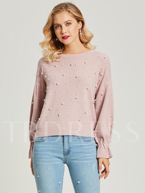 Loose Beading Decorative Pullover Women's Sweaters