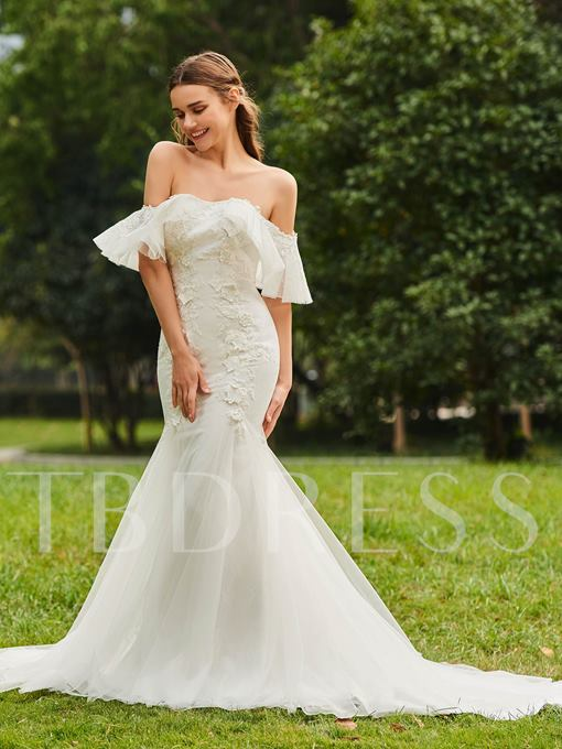Mermaid Off the Shoulder Appliques Lace Wedding Dress