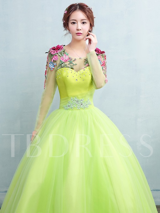 Scoop Appliques Beading Embroidery Long Sleeves Quinceanera Dress