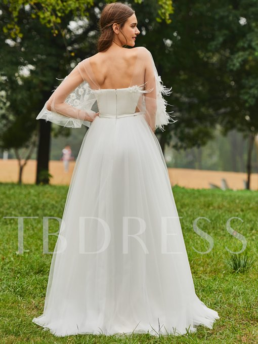 Flowers A-Line Wedding Dress with Sleeves