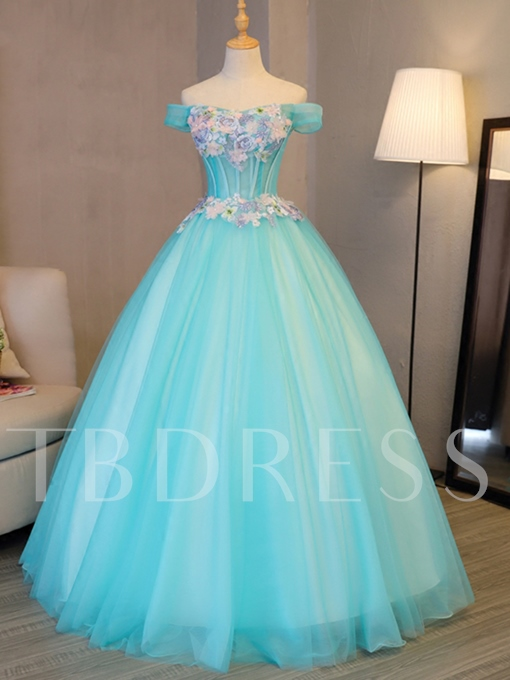 Off-the-Shoulder Embroidery Flowers Pearls Quinceanera Dress