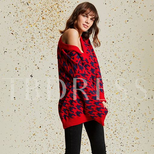 V-Neck Color Block Houndstooth Pullover Women's Sweater
