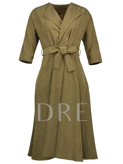 Green Half Sleeve Lace up Women's Day Dress