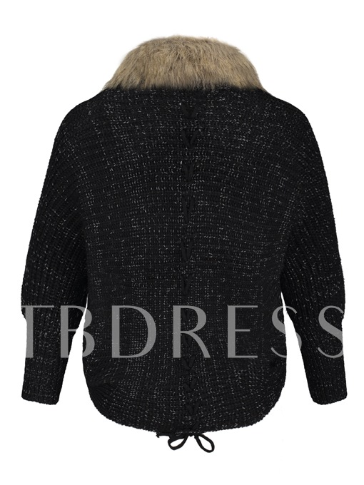 Faux Fur Patchwork Batwing Sleeve Winter Vacation Women's Cardigan