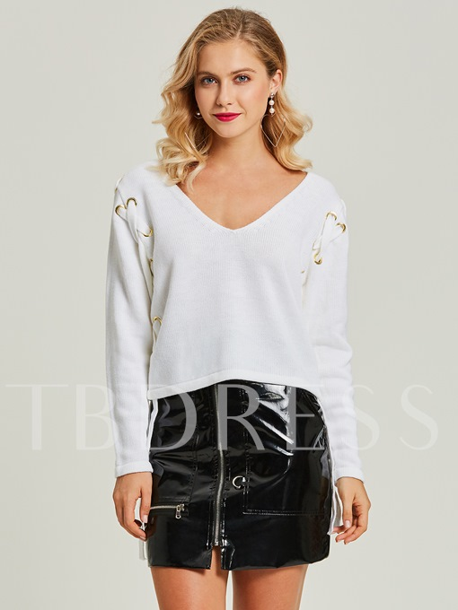 Short V-Neck Pullover Lace-Up Women's Sweater