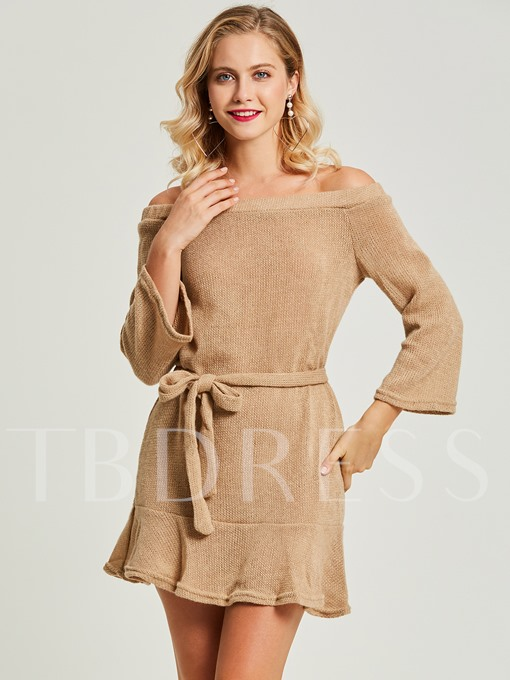 Khaki off Shoulder Lace up Women's Sweater Dress