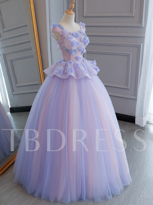 Beading Flowers Lace Pearls Cap Sleeves Quinceanera Dress