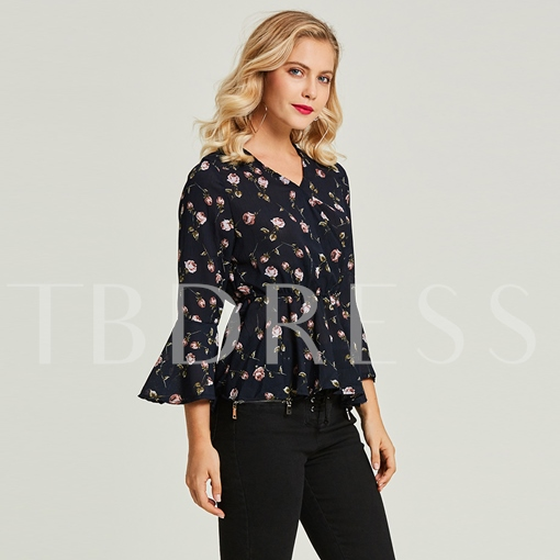 V-Neck Floral Print Flare Sleeve Women's Blouse