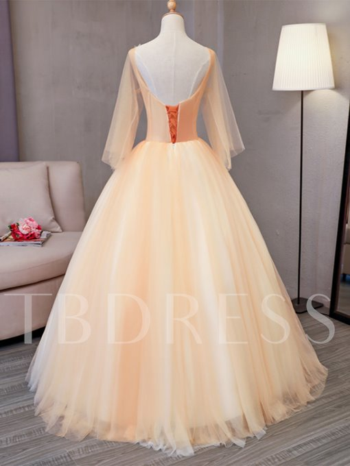 Appliques Pearls Sequins V-Neck Quinceanera Dress