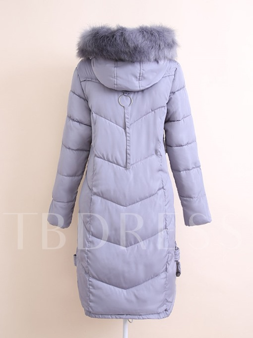 Faux Fur Hooded Slim Fit Warm Women's Overcoat