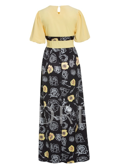 Yellow Lace up Half Sleeve Women's Maxi Dress