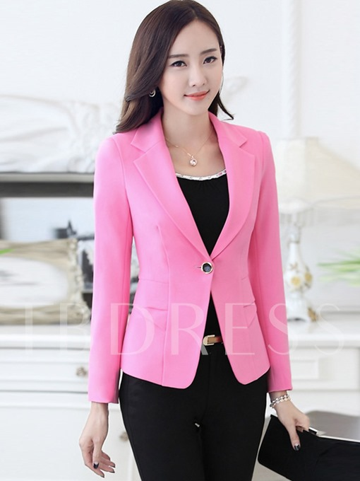 One Button Plain Slim Fit Women's Blazer