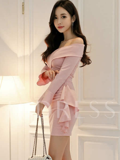 Off Shoulder Pink Bell Sleeve Women's Bodycon Dress