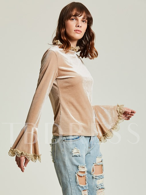 Flare Sleeve Lace Patchwork Women's T Shirt