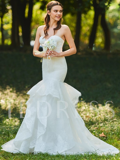 Sweetheart Appliques Mermaid Wedding Dress
