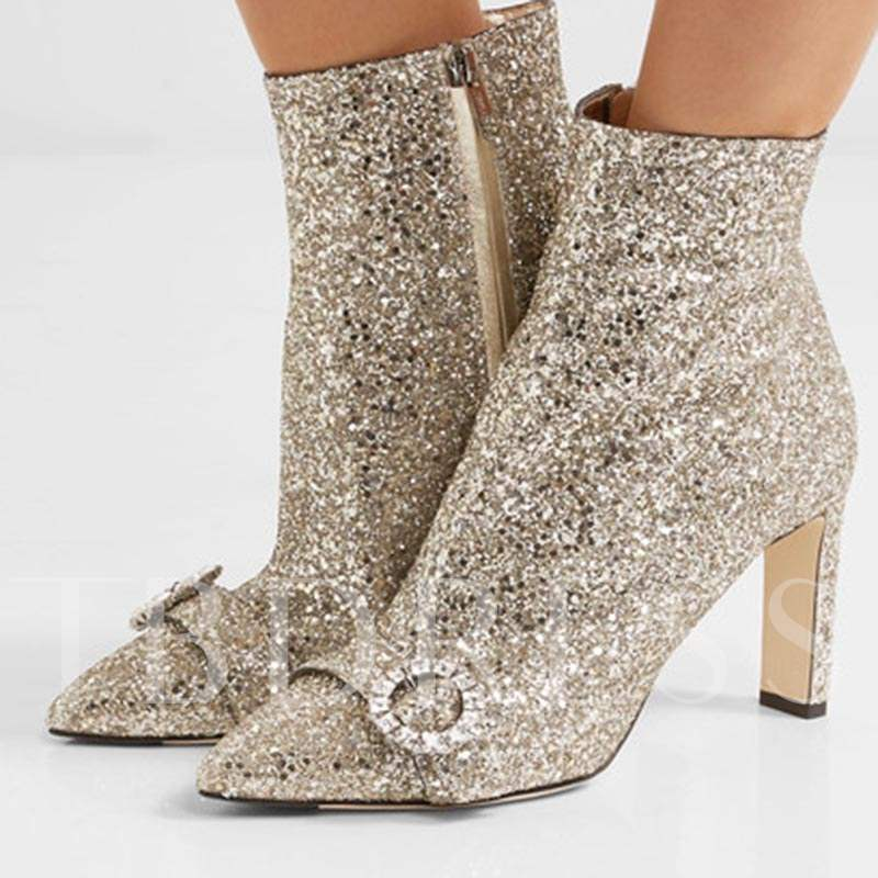 Buy Sequin Pointed Toe High Heel Golden Boots Shoes, Sheshoe, Spring,Fall,Winter, 13086307 for $106.99 in TBDress store