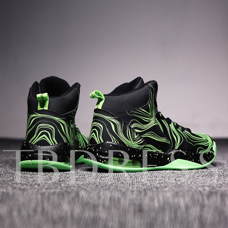 Color Block Lace Up High Top Men's Basketball Shoes