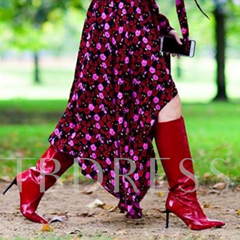 Pointed Toe Red Patent Leather Black Heel Boots