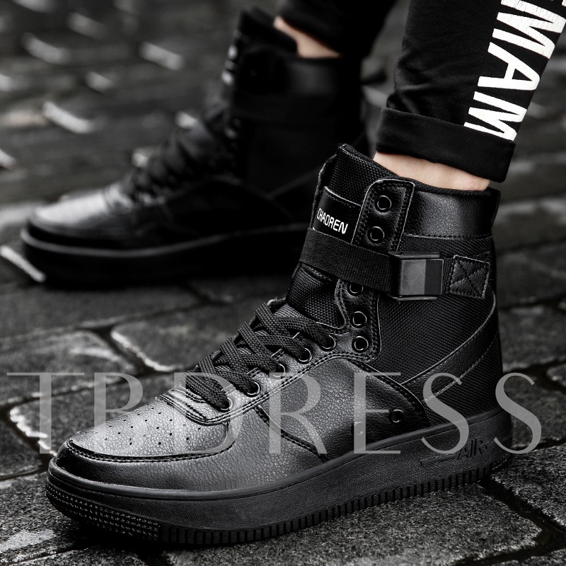 Skidproof Outsole Lace Up Solid High Top Men's