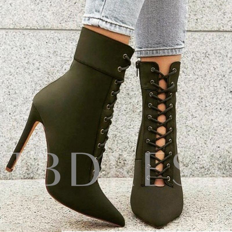 Army Green Lace Up High Heel Women's Boots