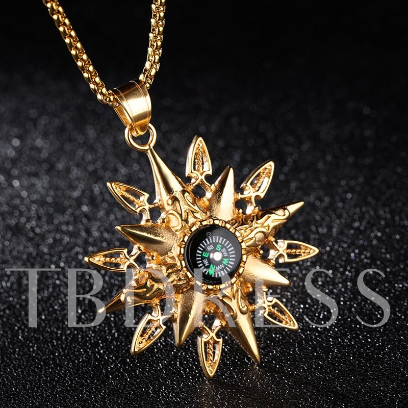 Compass Stainless Steel Overgild Silver Plated African Men's Necklace