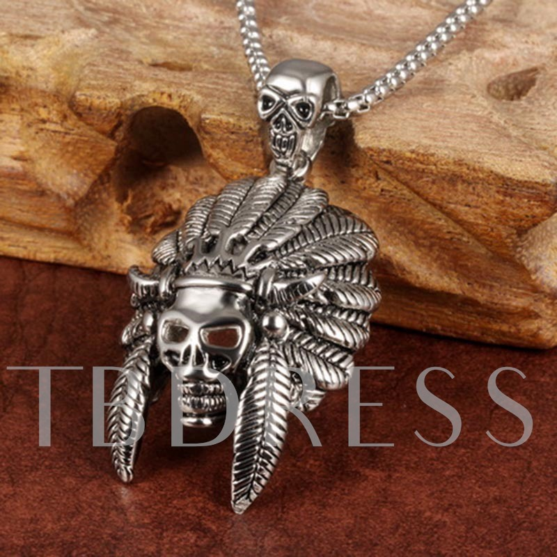 Indian Chief Skull Punk Titanium Steel African Men's Necklace