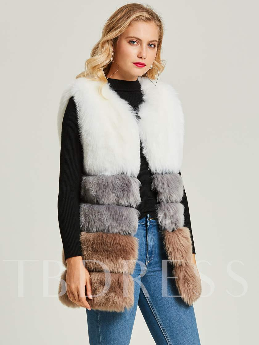 Color Block V-Neck I-Type Women's Vest Coat
