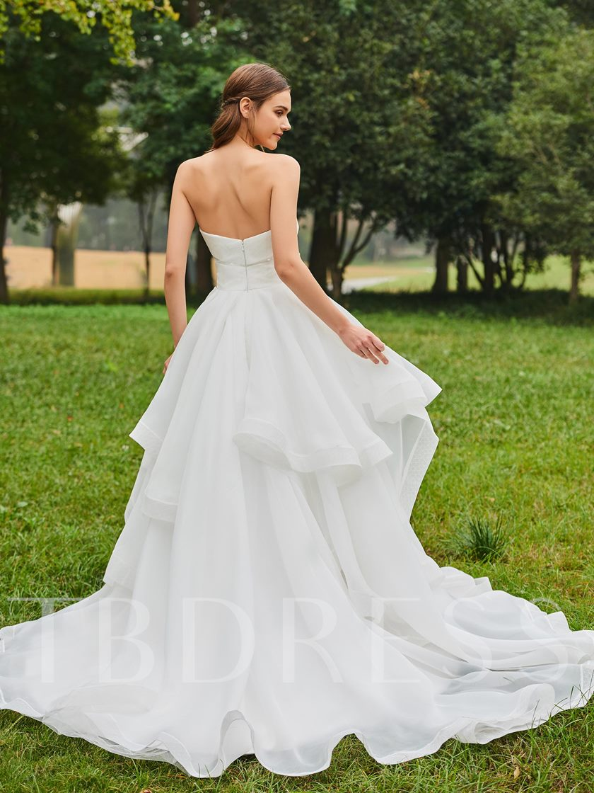 Strapless Lace Bowknot Ruffles Wedding Dress