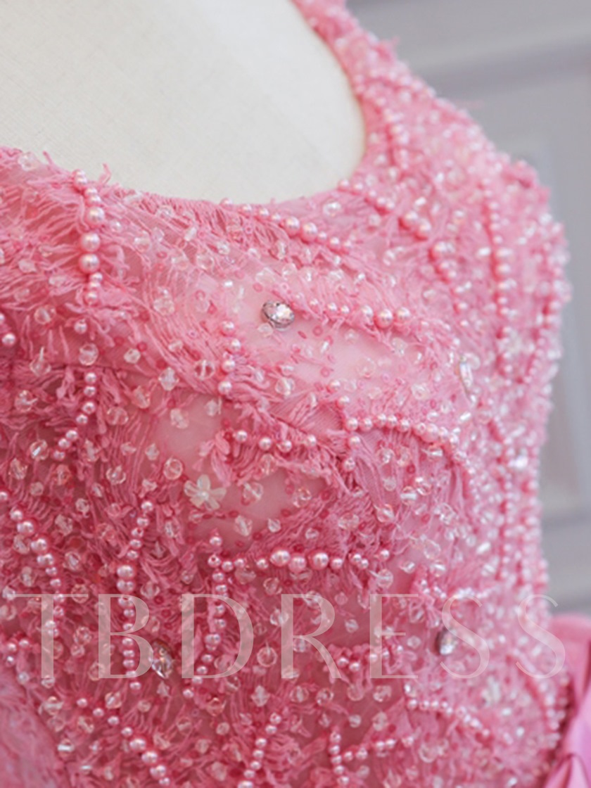 Beading Bowknot Lace Sashes Scoop Floor-Length Quinceanera Dress