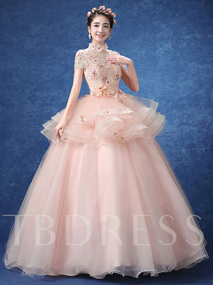 Appliques Rhinestone Flowers Ruched Short Sleeves Quinceanera Dress