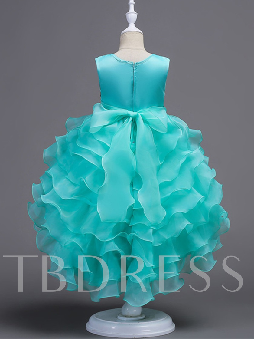 Appliques Tiered Ruffles High Low Girls Party Dress