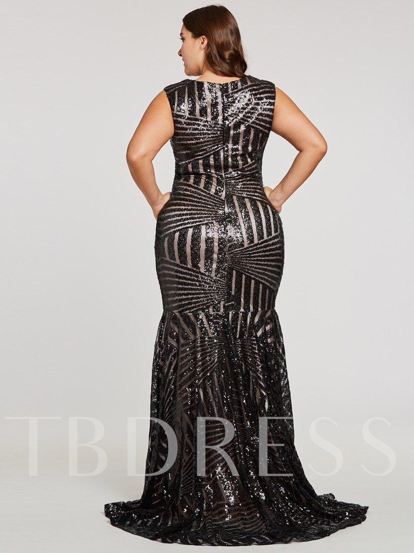 Scoop Sequins Mermaid Evening Dress