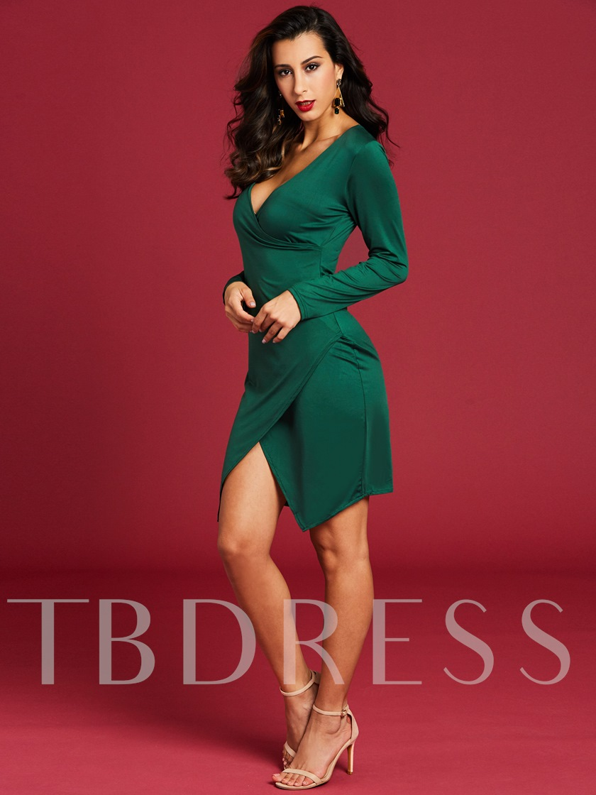 V-Neck Plain Asymmetrical Women's Bodycon Dress