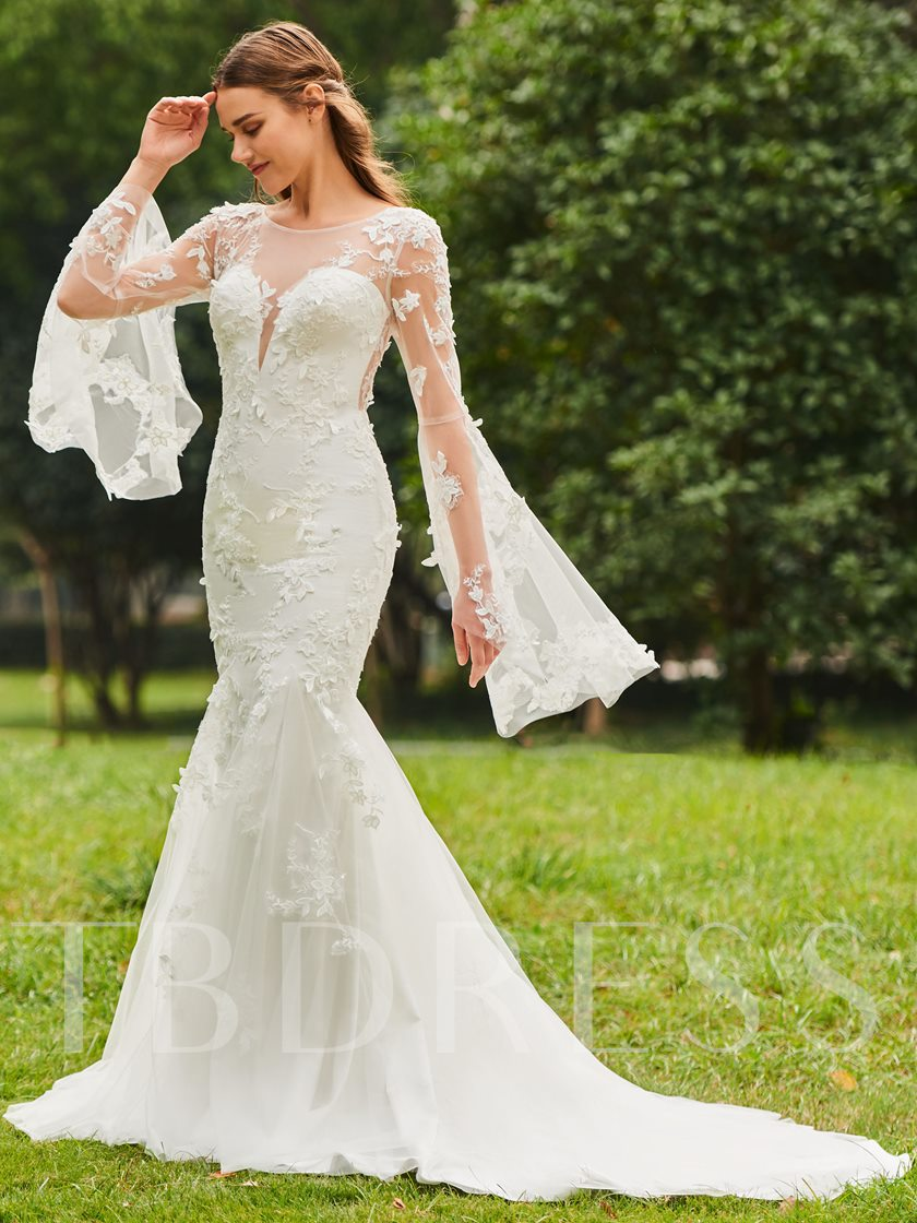 Illusion Neck Appliques Wedding Dress with Sleeves