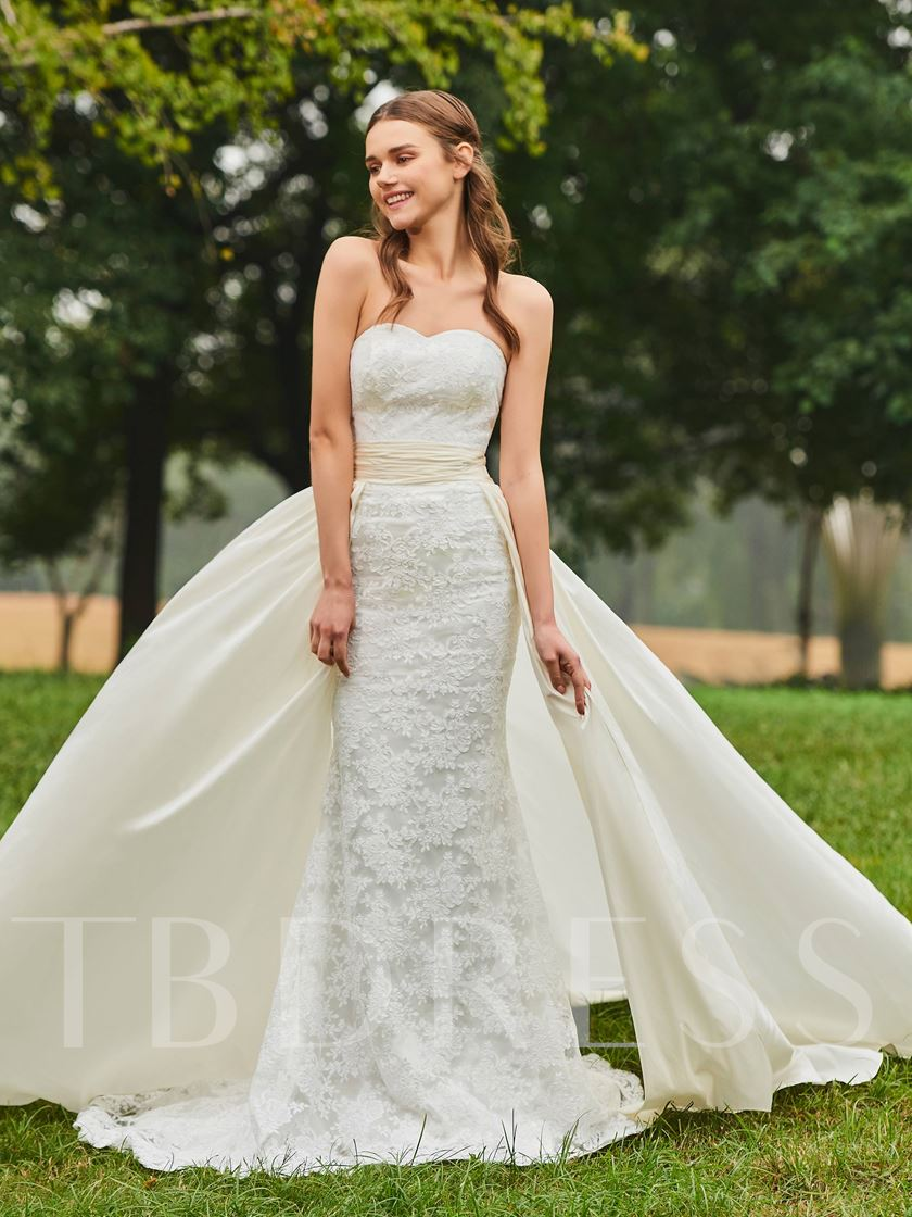 Watteau Train Trumpet Lace Wedding Dress