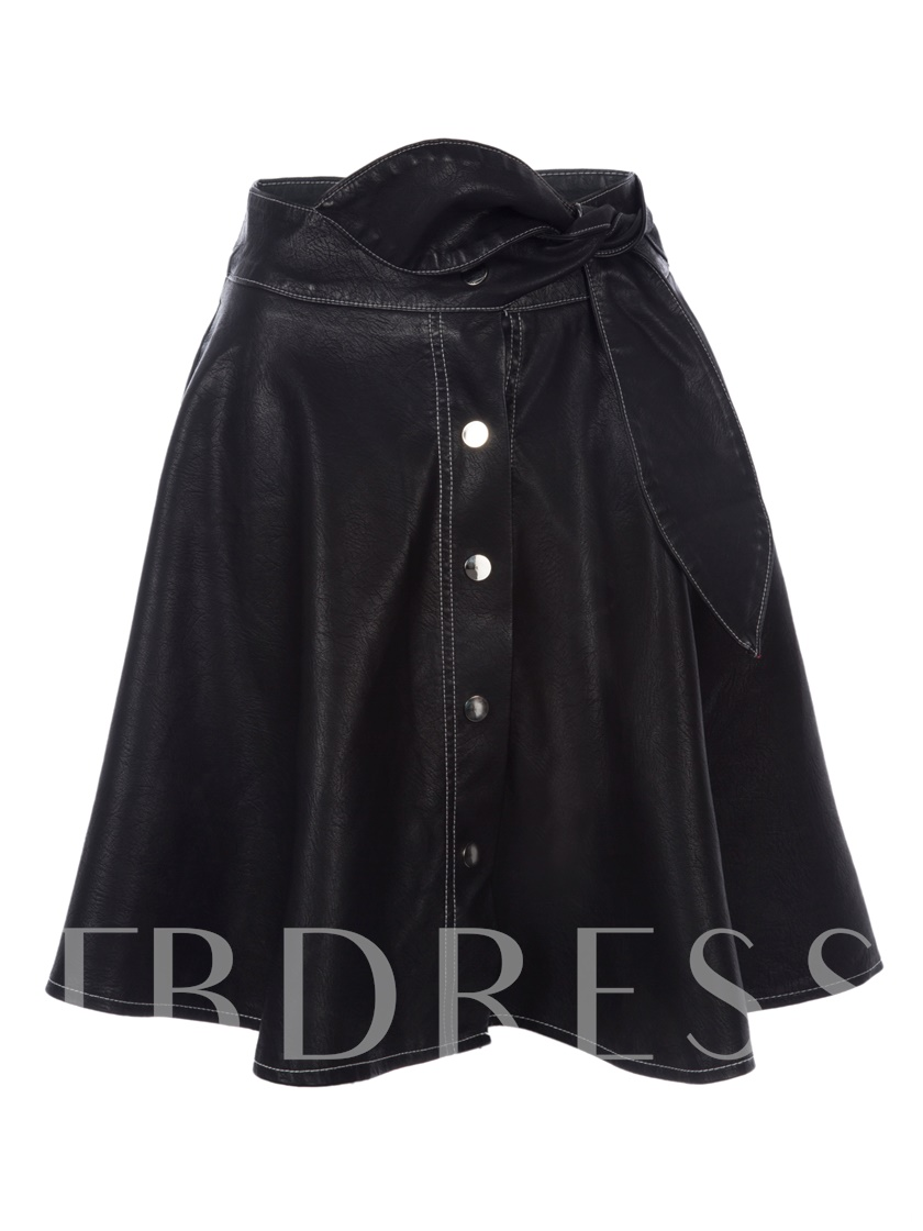 Plain Mid-Waist Knee-Length A-Line Women's Skirt
