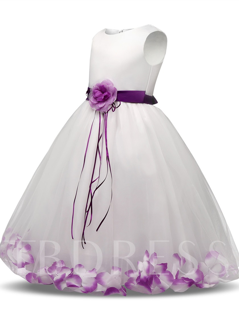 Scoop Neck Appliques Sashes Flower Girl Dress